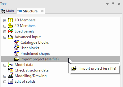 Figure 1: Import an esa file.