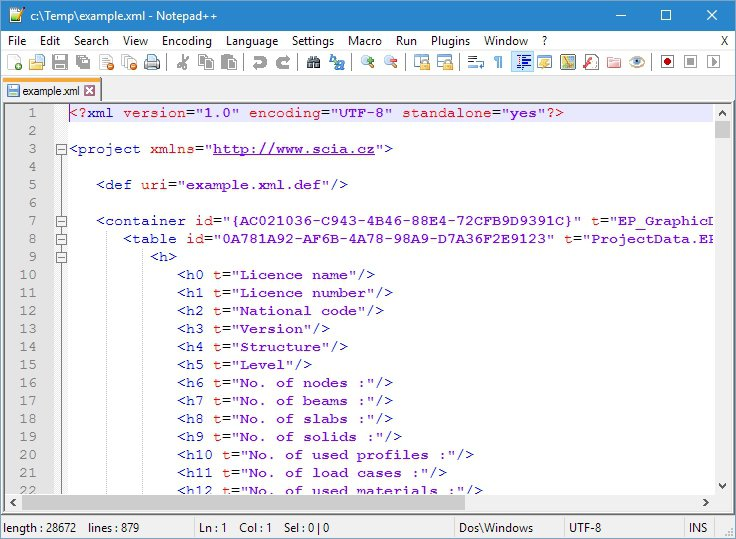 Transfer project to older SCIA Engineer version via XML