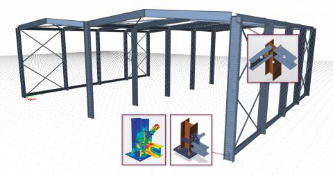 Conceptualisez votre assemblage à partir de zéro ou utilisez la géométrie et le chargement importés de SCIA Engineer