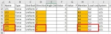 Load Table Excel - Different Load Direction