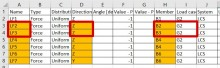 Load Table Excel - different Beam